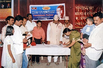Vyankatesh pariwars Eye donation registration stall at Swami samarth kendra,Bajajnagar