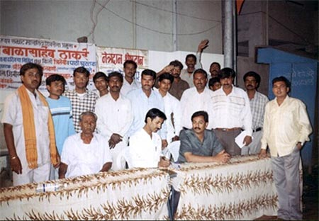 Kishor soni and other members taking eye donation forms from people