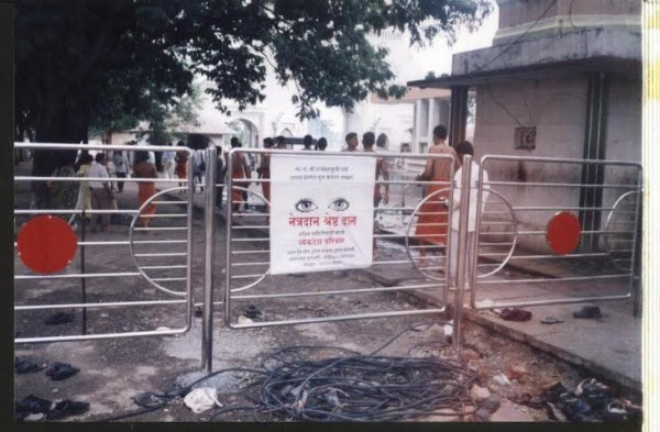 Banners affixes at shani signapur temple area