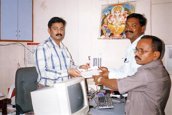 Eye Donation Pledge Forms Handed Over by Mr. Zumberrao Kharade and Mr. Dinkar Borge to Mr. Kishor Soni