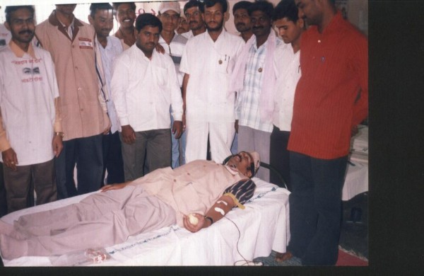 Ad.kishor soni giving his blood in a blood donation camp