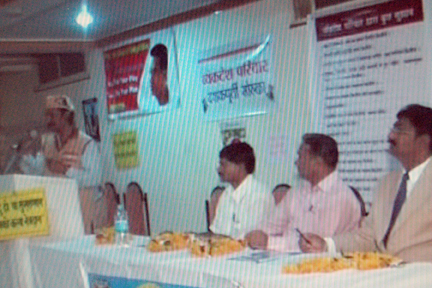 Ad. kishor soni in action with all dignatories on dias