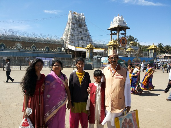After darshan in front of Tirupati Temple