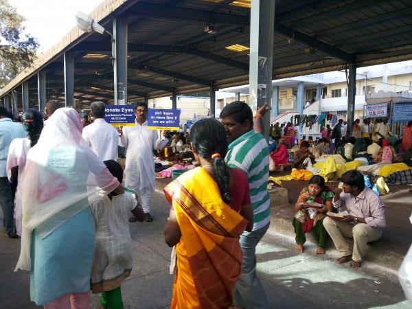Motivating Lord Tirupati Balaji bhakts for eye donation in center of Tirumala hills by us