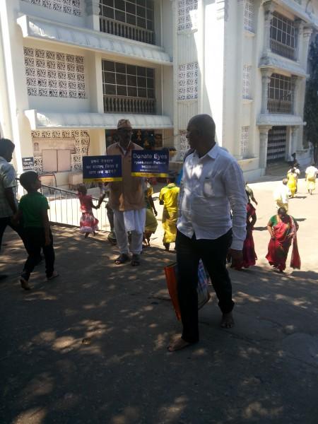 Showing importance and needs of eye donation among Lord Balaji Bhakataj in front of Asthana Mandapam
