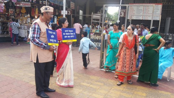In front of Temple creating awareness about eye donation